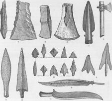 MILITARIA. Rude weapons of primitive man 1890 old antique print picture