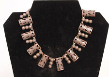 """Taxco Sterling Silver Choker Necklace 15"""" c.1940s"""