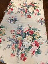 """Vintage Big Cabbage Roses Barkcloth Fabric 1 1/3 yd L X 25""""W~Pillows,Bags,Home"""