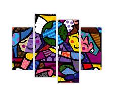 Niños Del Mundo Por Romero Britto En Enmarcado tela pared arte Imprime De 4 Piezas