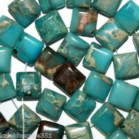 IMPRESSION JASPER STONE BEADS DOUBLE 2 HOLE SQUARE 10X10MM BEAD STRANDS SD17
