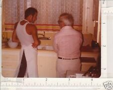 Dishes kitchens gay apron 2 guys 1977 snap photo 90502