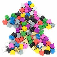 16mm Wooden Meeple Game Pawns, 10 Colors, 100-pack