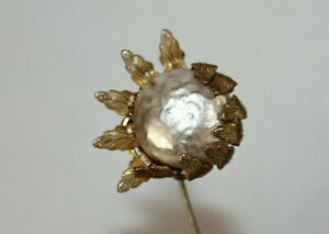 Vintage Signed Miriam Haskell Baroque Faux Pearl Stick Pin Flower Shaped
