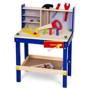 Kinder Werkbank Holz 50tlg. Kinderwerkbank mit viel Zubehör Werkzeug Säge Hammer