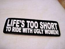 LIFE'S TOO SHORT  MOTORCYCLE , BIKER  ,HOT ROD,RAT ROD ,HELMET STICKER