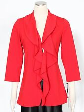 Calvin Klein Red Suit Jacket Only Size 8P Frilled Open Front Women's New*