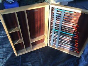 Vintage Windsor & Newton float fishing wooden case