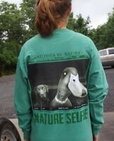 Southern By Nature Duck Selfie LS T-Shirt Mens Grass Medium New with tags