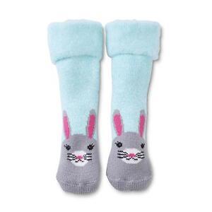 BUNNY RABBIT Cozy SLIPPER SOCKS Gripper NOSE Ears PLUSH Soft THICK Warm NWT