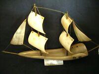 Vintage 1950's Cattle Horn Bone Sailing Ship Boat Yacht Model Ornament
