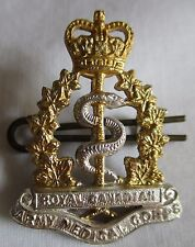 ROYAL CANADIAN ARMY MEDICAL CORPS SILVER & GOLD CAP / COLLAR BADGE