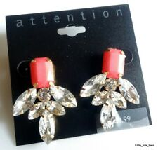 LTB: ATTENTION FASHION STATEMENT PINK & CRYSTAL EARRINGS