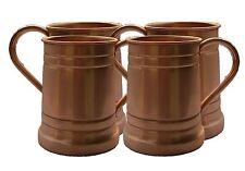 Set of-4, Handmade Solid Copper Moscow Mule Mug, Large Tankard 18 Oz Capacity.