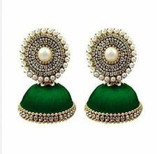 Punjabi Traditional Ethnic Handmade Silk Thread Jhumki Earrings Green Color