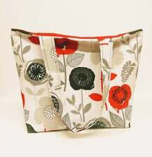 Red and Black Poppy Beach Bag or Tote Bag with Pocket
