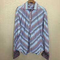 Robert Graham Diagonal Stripes Dress Shirt 2XL Long Sleeve Flip Cuff