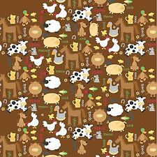 Fabric Baby Farm Animals & Sounds on Brown Flannel by the 1/4 yard BIN