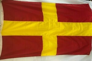 """Vintage Nautical - Signal Flag Letter R  45"""" x 70"""" -  Red & Yellow Maritime"""