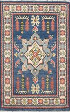 Blue 2'x3' Geometric Kazak Area Rug Traditional Hand-Knotted Kitchen Carpet Wool