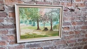 Vintage Large 1980's original Oil Painting Picture Manor Gardens Eastbourne