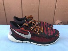 Nike Free 5.0 Print Youth Us 5Y Running Trainers Red Black 749681 001 A6