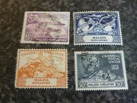 MALAYA SINGAPORE UPU STAMPS SG33-36 1949 FINE USED