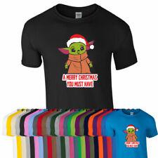 SANTA BABY YODA TSHIRT Tee Top Star Mandalorian Wars Funny Xmas Christmas Gift