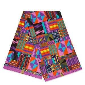 African Purple / Pink Kente print fabric KENTE Ghana wax cloth AF-4010 - cotton