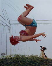Hilda Jumping in Hay with Dog by Duane Bryers