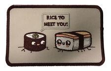 Randy Otter Rice to Meet You Sushi Joke Iron On Patch On Jacket Shirt