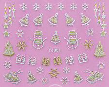 Christmas Matte GOLD Snowflake Snowman Gifts Stars y 3D Nail Art Sticker Decals