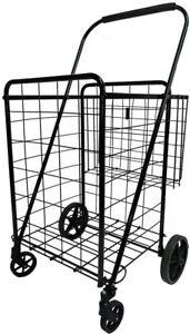 Heavy Duty Jumbo Folding Shopping Cart, with Double Basket and 360° Swivel Wheel