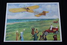 Affiche Scolaire vintage Avion Bleriot traverse la Manche Jaurès Rossignol V132