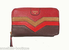 """Fossil  """"Audri"""" Leather Zip Phone Wallet Red Multi SWL11859995 NWT"""