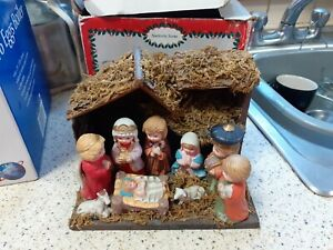 VINTAGE CHRISTMAS NATIVITY SCENE - SNOW WHITE, WOOD STABLE, PORCELAIN FIGURES