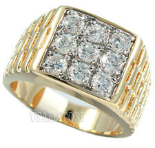 Multi Cubic Zirconia Tutone 18kt Gold Ep Mens Ring Size 12 1/2