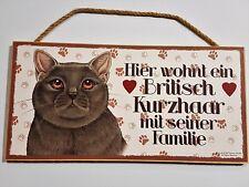 Holz Schild Katze Britisch Kurzhaar Türschild Dekohänger Tierschild Geschenk
