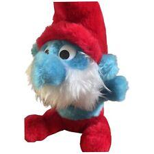 VINTAGE Papa Smurf Stuffed Plush Toy Peyo 1981 Schleich 8 Inch Bean Bag