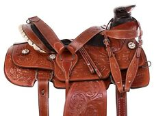 WADE TREE LEATHER TEAM ROPING SADDLE REINING RANCH CUTTER HORSE TACK SET 15 16