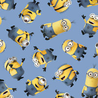 Despicable Me Tossed Minion Blue 100% cotton fabric by the yard