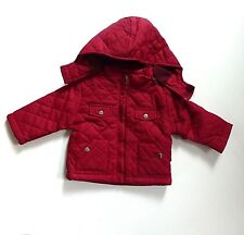 Baby Girl's Quilted Effect Jacket-Detachable Hood- Burgundy- Age 6-12 Months-NEW