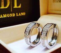 Silver Huggie Cubic Zirconia Wedding Engagement Stud Ear Earrings Party Jewelry