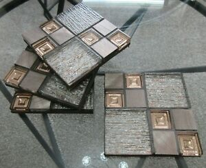 Beautifully Handmade Set of 4 Quality Mosaic Coasters Grey & Copper Glass Metal