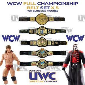 WCW Belts 5 x Custom Set for ELITE sized Figures WWF AEW WWE