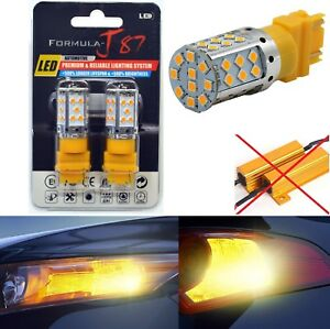 Canbus Error Free LED Light 3156 Amber Two Bulbs Front Turn Signal Replace Lamp