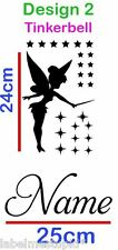 Fairy Wall Sticker with Any Custom Name Personalised Tinkerbell with Stars Small