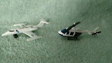 1973 Matchbox US Air Force Lear Jet White Metal & Police Helicopter Lot of 2