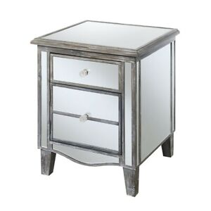 Convenience Concepts Gold Coast Park Lane End Table, Gray/Mirror - 413551WGY