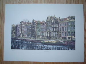 """MARY ANN LIS - Original Lithograph """"Amsterdam"""" - Pencil Signed & Numbered"""